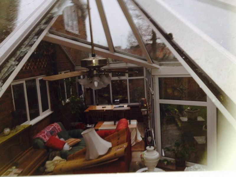 1st callout of the day, ridge tile straight through conservatory roofAbsolutely soaked: Swipe To View More Images