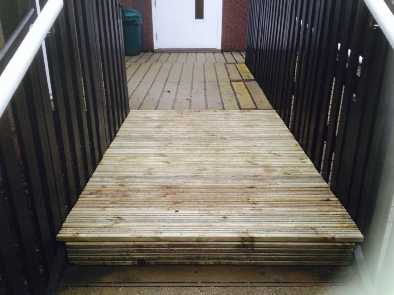 Some anti slip decking fitted this morning at a leicestershire schoolGet your decking fitted ready for the summer: Swipe To View More Images