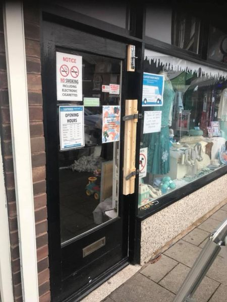 Temporary repair to door after burglary: Swipe To View More Images